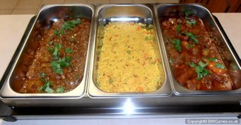 chicken dopiaza, pilau rice & chicken jalfezi